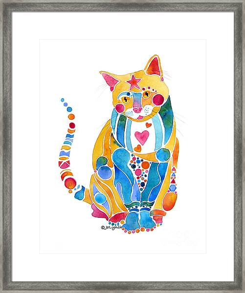 Jewel Colors Cat With Hearts N Stars Framed Print