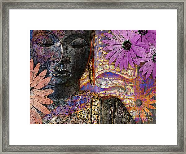 Jewels Of Wisdom - Buddha Floral Artwork Framed Print