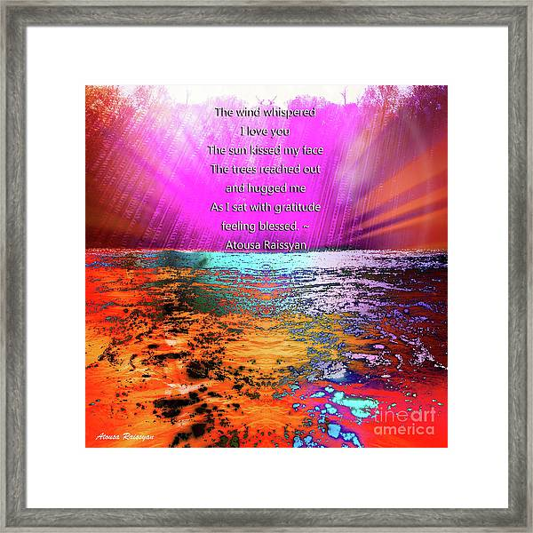 Framed Print featuring the digital art Feeling Blessed by Atousa Raissyan