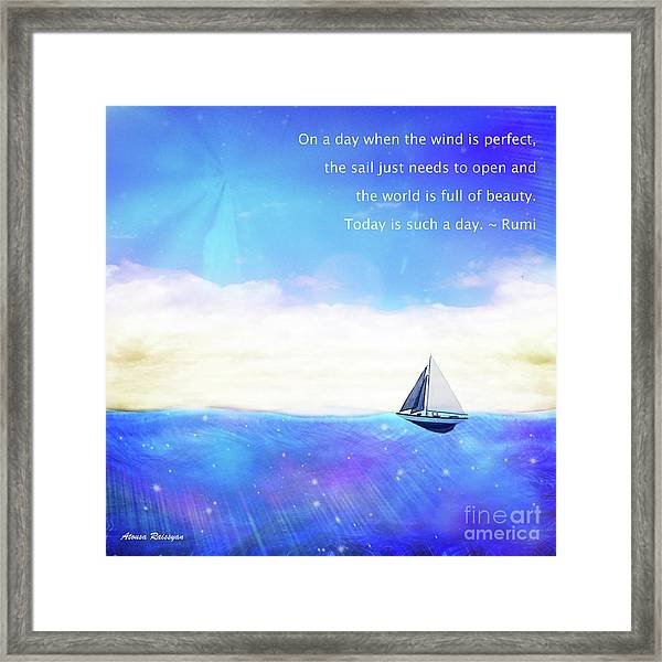 Framed Print featuring the digital art Perfect Day To Sail by Atousa Raissyan