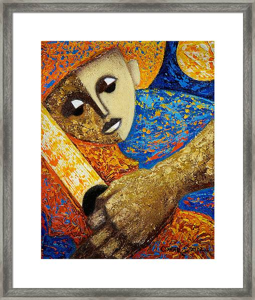 Framed Print featuring the painting Jibaro Y Sol by Oscar Ortiz