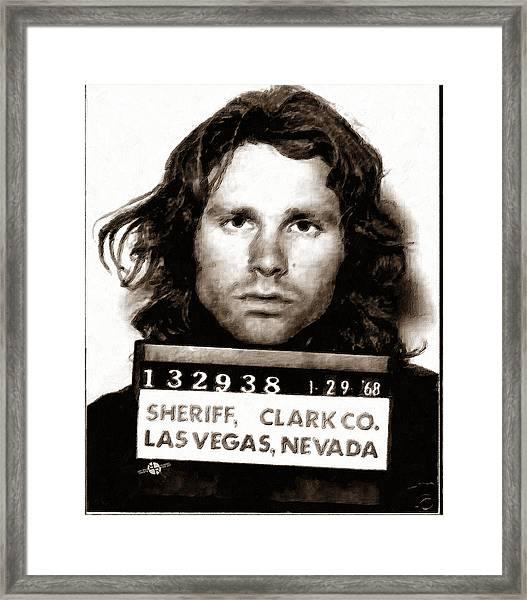 Jim Morrison Mug Shot 1968 Painting Sepia Framed Print