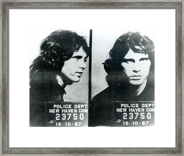 Jim Morrison Mug Shot Horizontal Framed Print