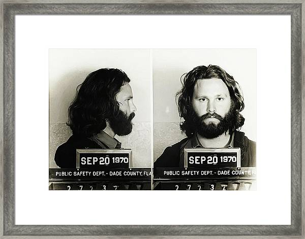 Jim Morrison Mugshot Framed Print