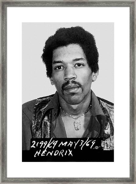 Jimi Hendrix Mug Shot Vertical Framed Print