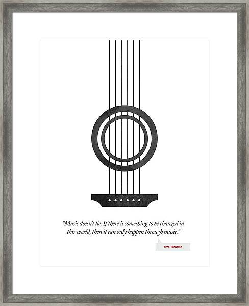 Jimi Hendrix Quote - Music Doesnt Lie ....02 Framed Print by Aged Pixel