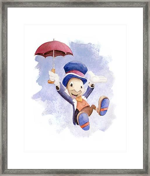 Jiminy Cricket With Umbrella Framed Print