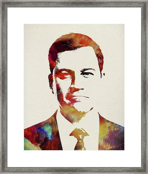 Jimmy Kimmel Watercolor Portrait Framed Print