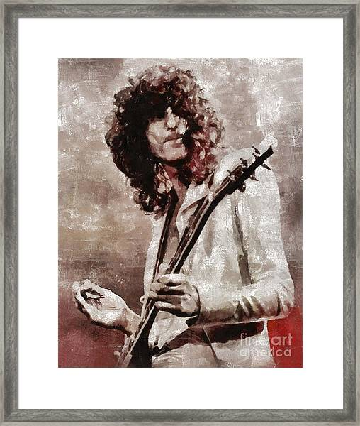 Jimmy Page By Mary Bassett Framed Print