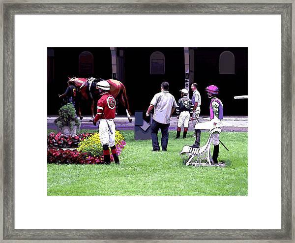 Jockeys Painting Framed Print