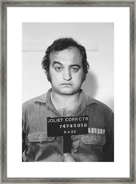 John Belushi Mug Shot For Film Vertical Framed Print