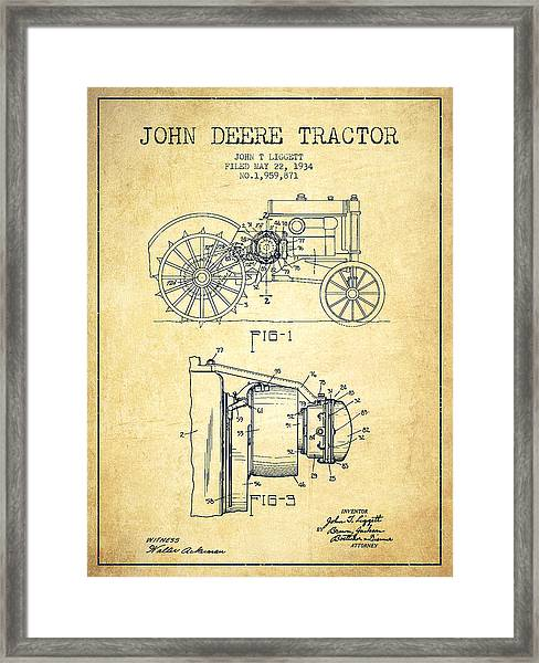 John Deere Tractor Patent Drawing From 1934 - Vintage Framed Print