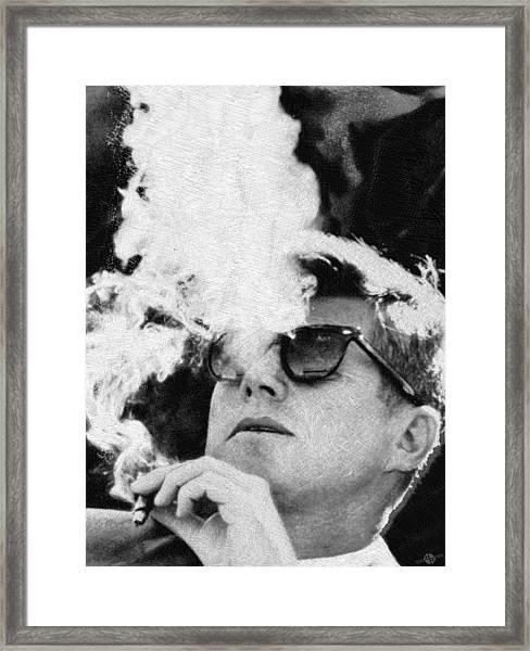 John F Kennedy Cigar And Sunglasses Black And White Framed Print