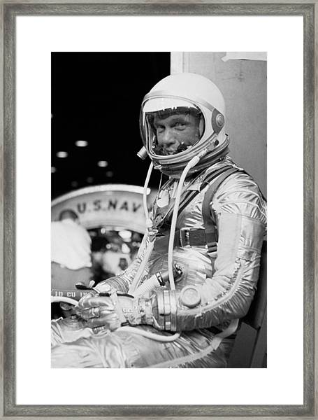 John Glenn Wearing A Space Suit Framed Print