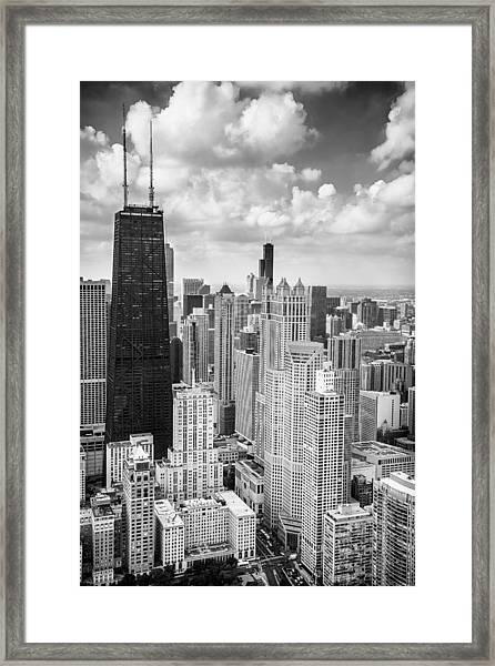 John Hancock Building In The Gold Coast Black And White Framed Print