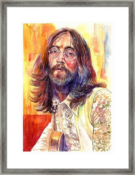 John Lennon Watercolor Framed Print