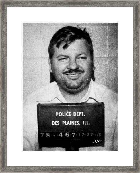 John Wayne Gacy Mug Shot 1980 Black And White Framed Print