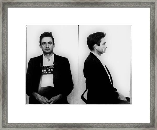 Johnny Cash Mug Shot Horizontal Framed Print