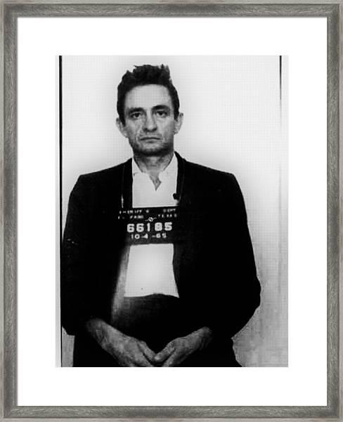 Johnny Cash Mug Shot Vertical Framed Print