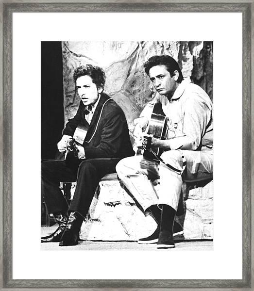 Johnny Cash, With Bob Dylan, C. 1969 Framed Print