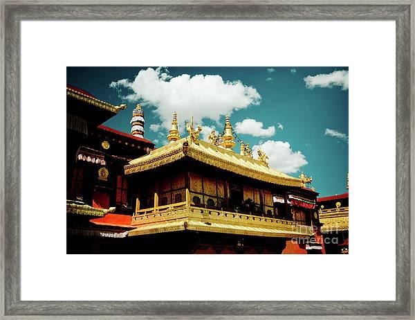 Jokhang Temple Fragment  Lhasa Tibet Artmif.lv Framed Print