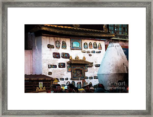 Jokhang Temple Wall Lhasa Tibet Artmif.lv Framed Print