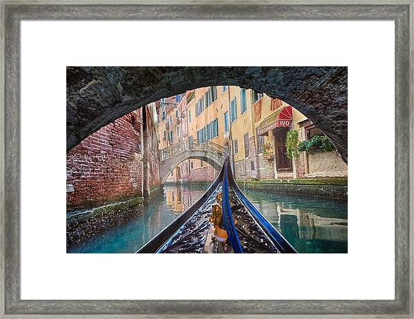 Journey Through Dreams - A Ride On The Canals Of Venice, Italy Framed Print