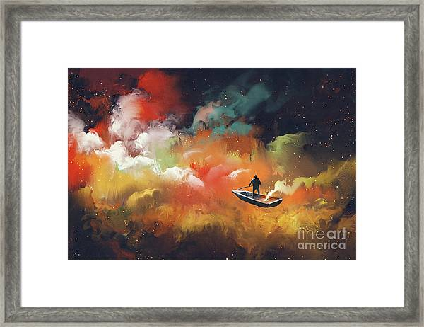 Framed Print featuring the painting Journey To Outer Space by Tithi Luadthong