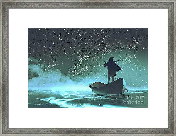 Framed Print featuring the painting Journey To The New World by Tithi Luadthong