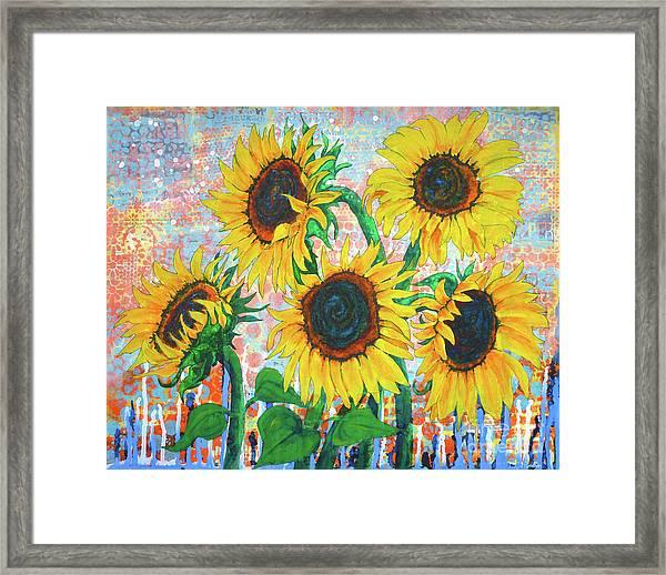 Joy Of Sunflowers Desiring Framed Print