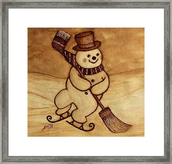Joyful Snowman  Coffee Paintings Framed Print