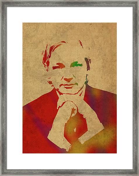 Julian Assange Of Wikileaks Watercolor Portrait Framed Print