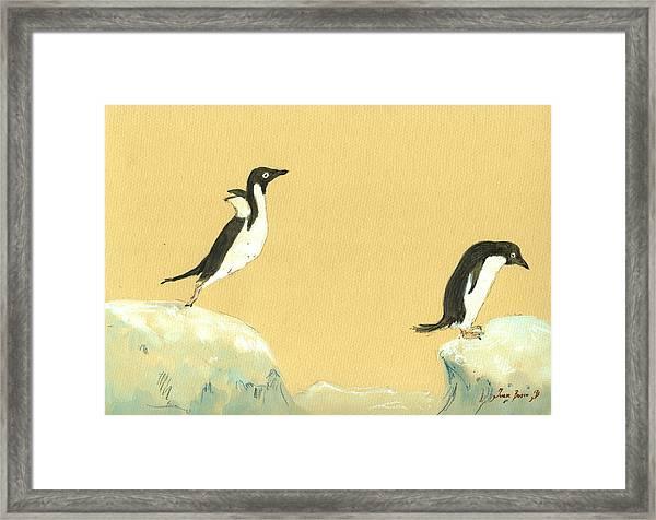 Jumping Penguins Framed Print