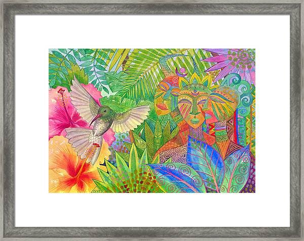 Jungle Spirits And Humming Bird Framed Print