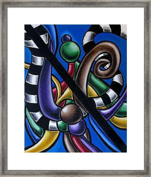 Original Colorful Abstract Art Painting - Multicolored Chromatic Artwork Framed Print