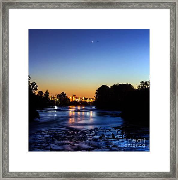 Jupiter And Venus Over The Willamette River In Eugene Oregon Framed Print