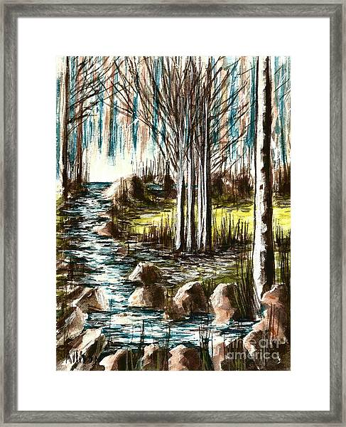 Just Around The Riverbend  Framed Print