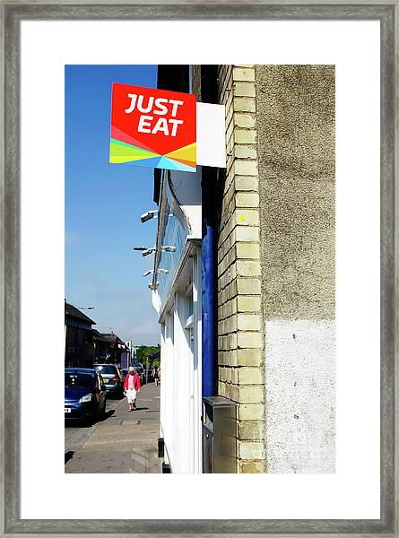 Just Eat Sign Framed Print