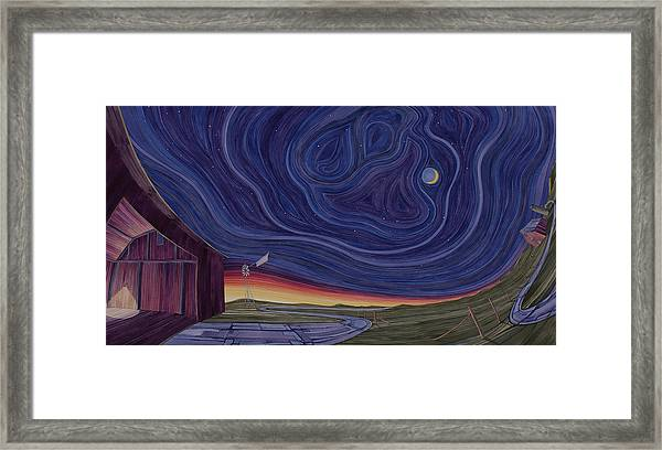 Framed Print featuring the painting Just Outside The Barn by Scott Kirby