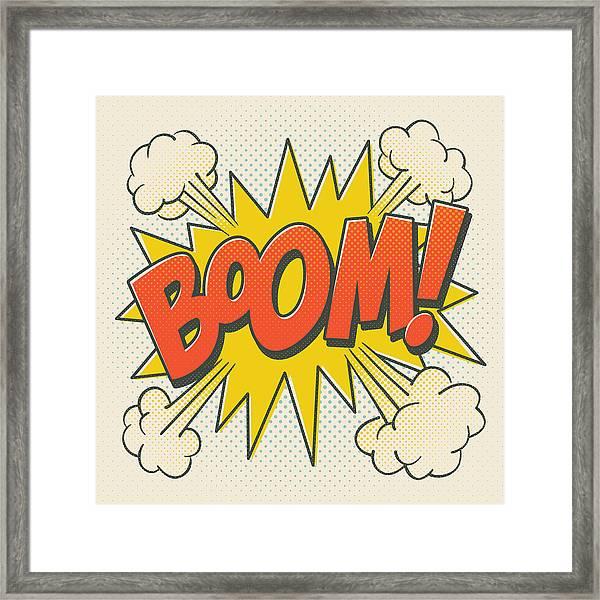 Comic Boom On Off White Framed Print