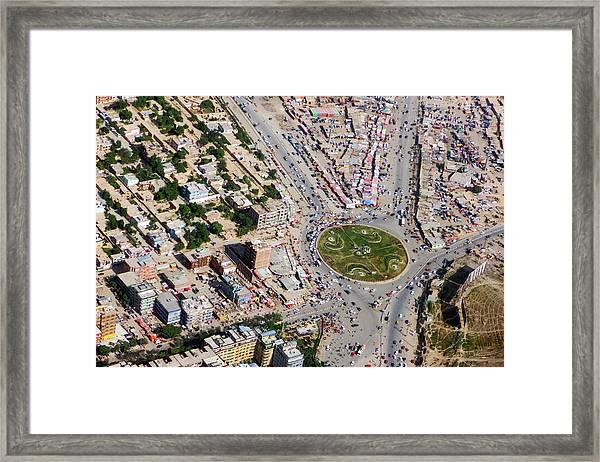 Kabul Traffic Circle Aerial Photo Framed Print