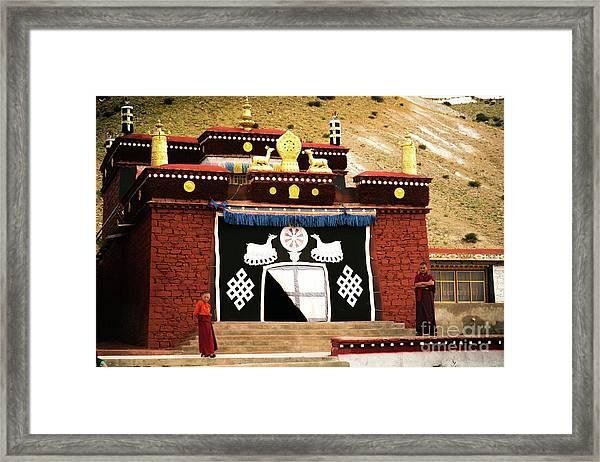 Monks And Buddhist Monastery Tibet Yantra.lv  Framed Print