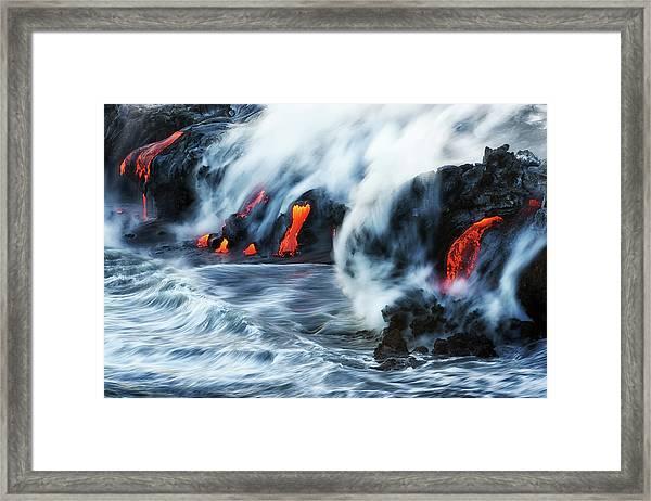 Kamokuna Lava Ocean Entry, 2016 Framed Print