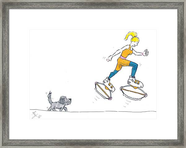Kangoo Jumps Bouncy Shoes Walking The Dog Keep Fit Cartoon Framed Print