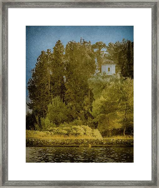 Framed Print featuring the photograph Kanoni, Corfu, Greece - Protected by Mark Forte