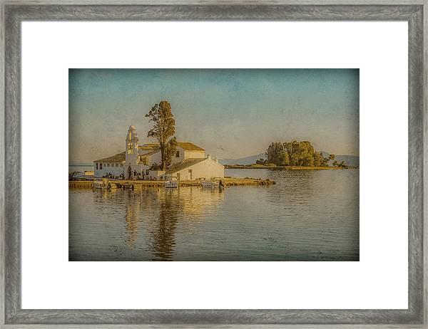 Framed Print featuring the photograph Kanoni, Corfu, Greece - Vlacherna Monastery And Pontikonisi by Mark Forte