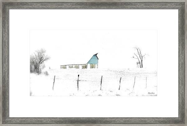 Kansas Blue Barn In Frozen Fog Framed Print