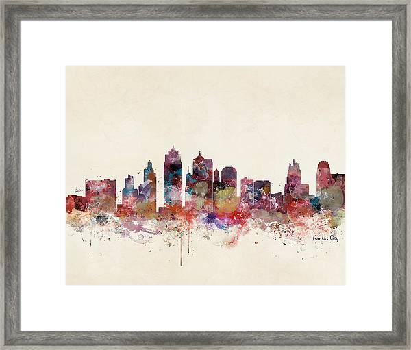 Kansas City Missouri Skyline Framed Print