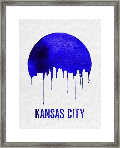 Kansas City Skyline Blue Framed Print