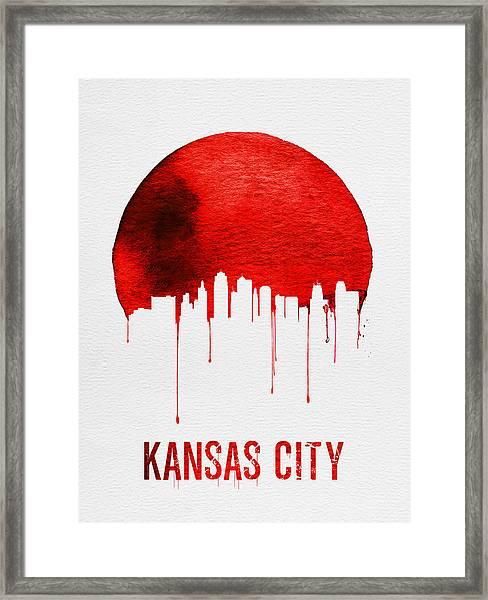 Kansas City Skyline Red Framed Print